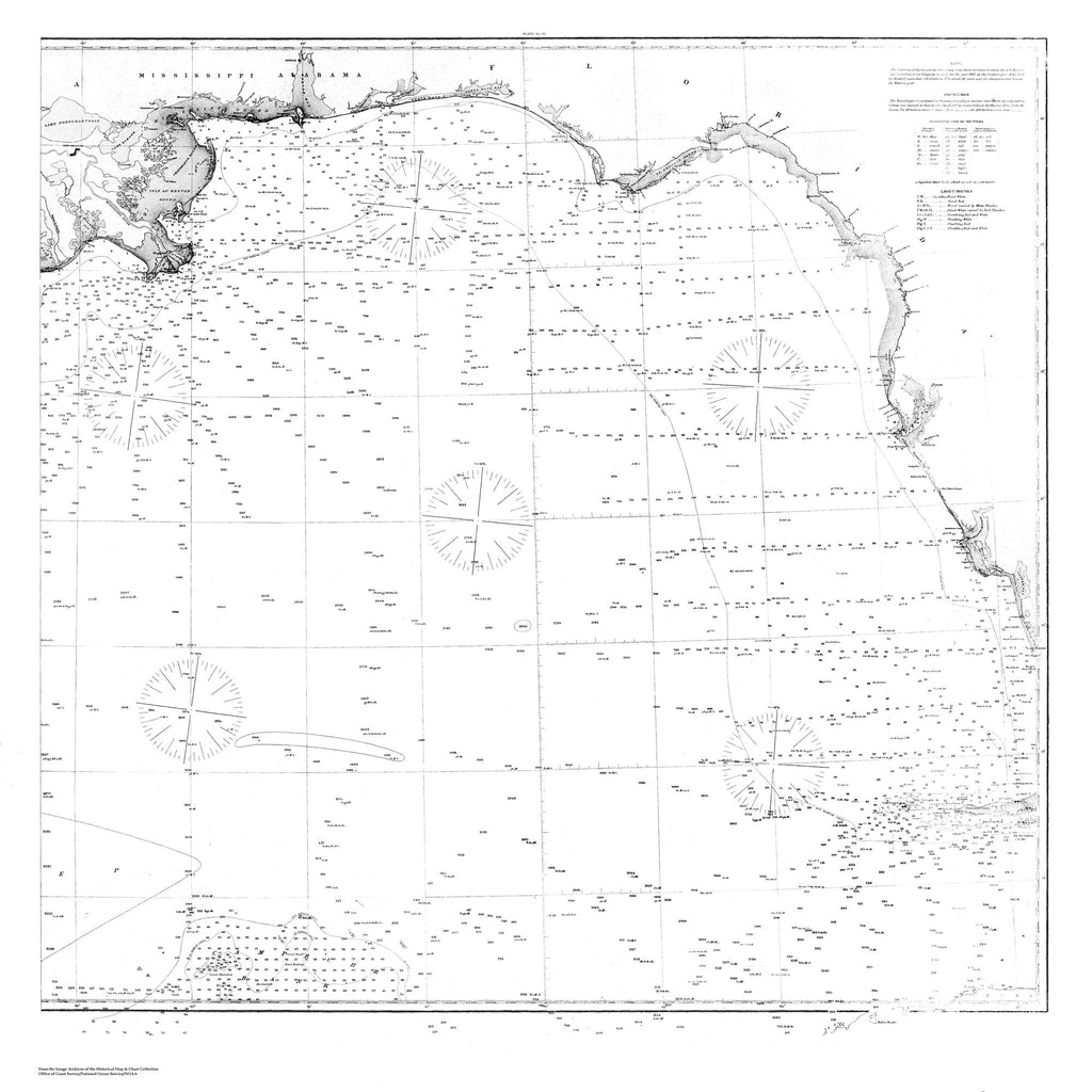 18 x 24 inch 1863 US old nautical map drawing chart of Navigation Chart of the Gulf Coast of the US from Florida to New Orleans From  U.S. Coast Survey x3246