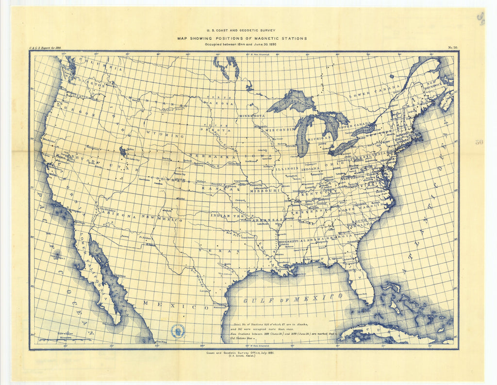 18 x 24 inch 1890 USA old nautical map drawing chart of No. 20. Map showing positions of magnetic stations occupied between 1844 and June 30, 1890. From  US Coast & Geodetic Survey x12126