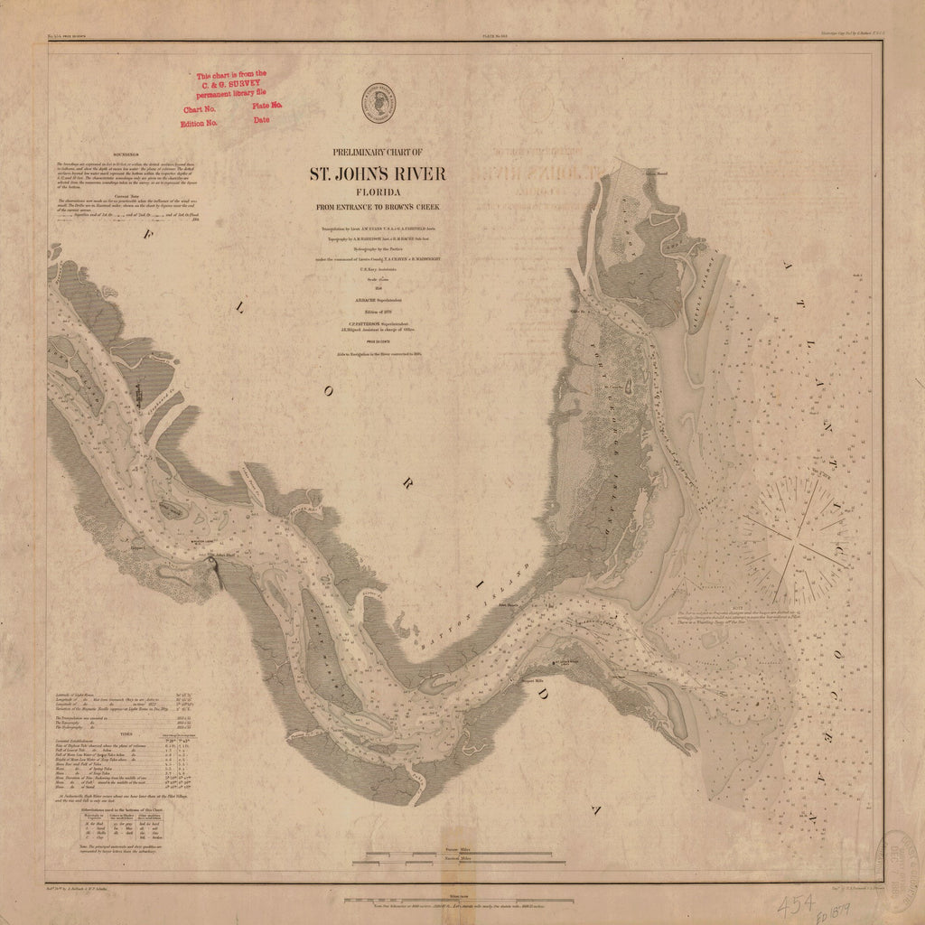 18 x 24 inch 1879 US old nautical map drawing chart of PRELIMINARY CHART OF THE ST. JOHN'S RIVER From  US Coast & Geodetic Survey x1327