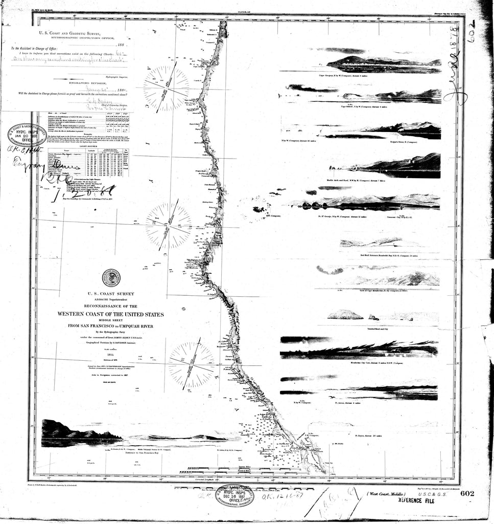 18 x 24 inch 1855 California old nautical map drawing chart of Reconnaissance of the Western Coast of the United States From  C&GS x9789