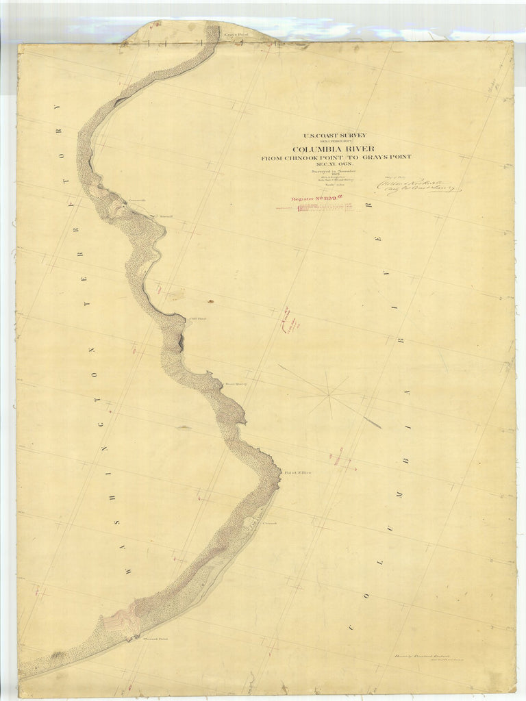 18 x 24 inch 1869 Oregon old nautical map drawing chart of Columbia River From Chinook Point to Grays Point From  U.S. Coast Survey x6509