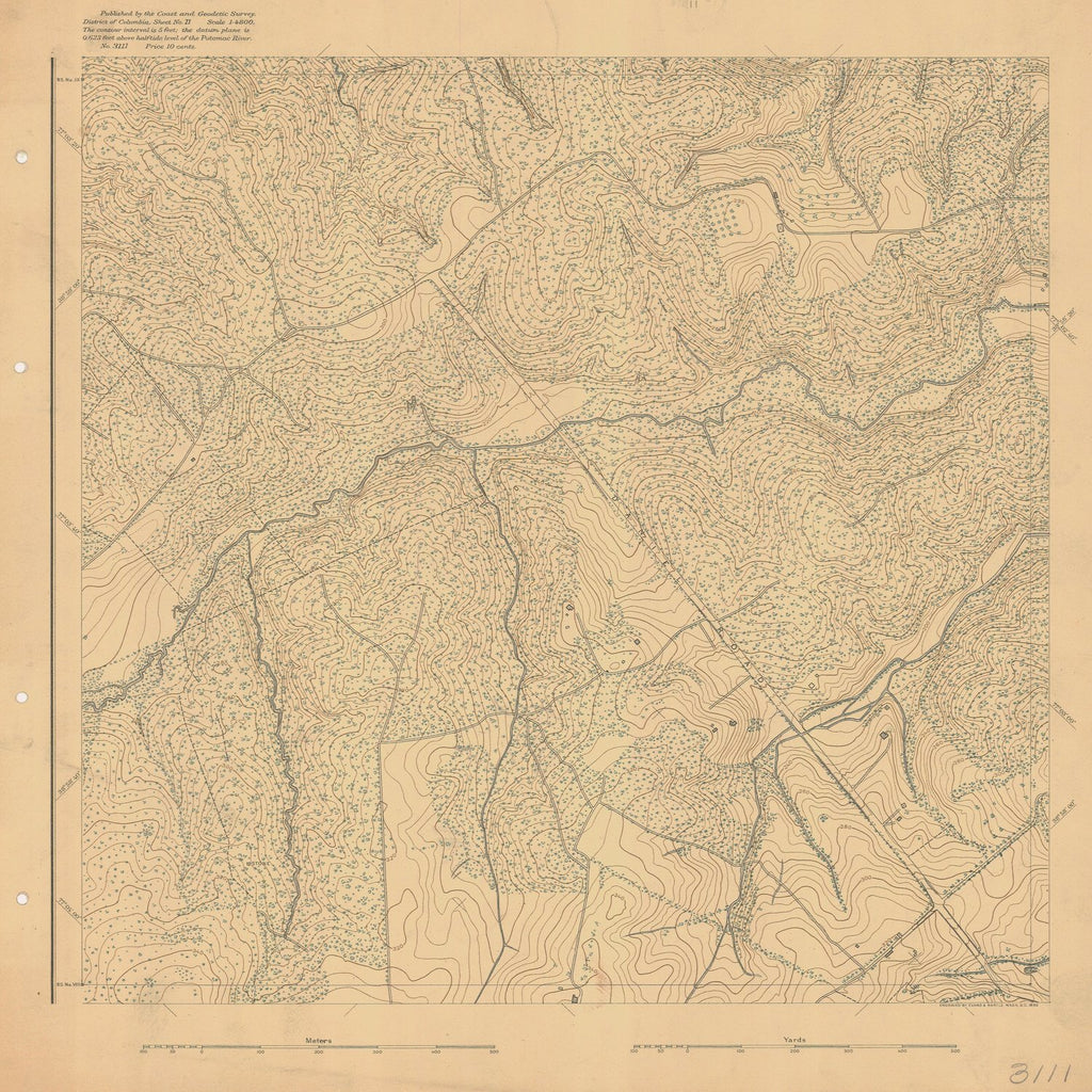 18 x 24 inch 1892 US old nautical map drawing chart of DISTRICT OF COLUMBIA SHEET NO 11 From  US Coast & Geodetic Survey x1126