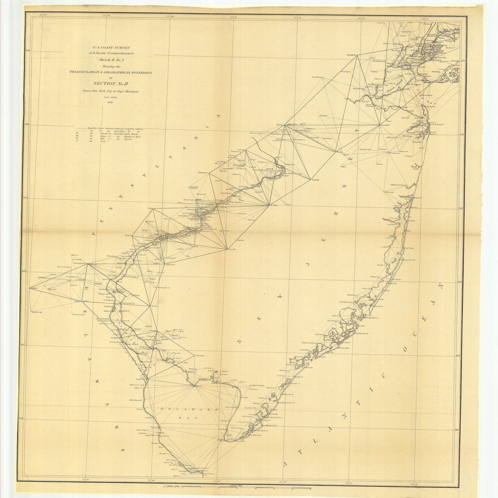 18 x 24 inch 1851 US old nautical map drawing chart of Sketch B Number 3 Showing the Triangulation and Geographical Positions in Section Number 2 from New York City to Cape Henlopen From  U.S. Coast Survey x1899