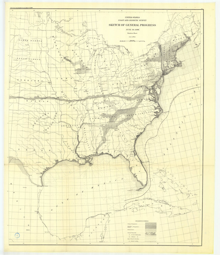 18 x 24 inch 1896 US old nautical map drawing chart of No. 1.Sketch showing route lino of spirit levols from Hagerstowu, Md., to Washington, D. C, 1883 From  US Coast & Geodetic Survey x1185