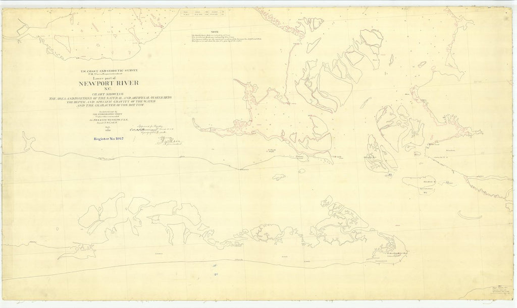 1886 Us Lower Part Of Newport River Nc From Us Coast Geodetic - Us-coast-and-geodetic-survey-maps