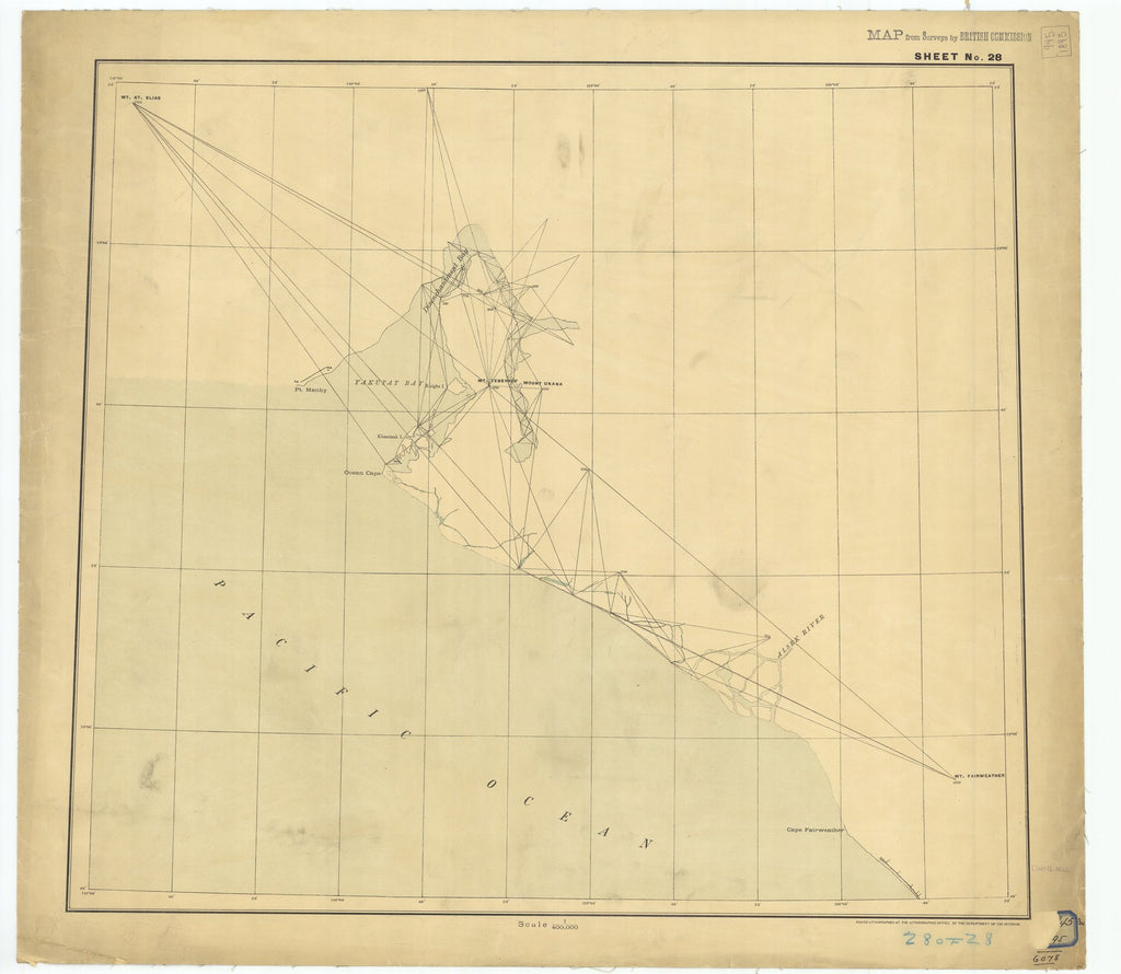 18 x 24 inch 1895 US old nautical map drawing chart of Sheet #28 From  Department of the Interior x2622