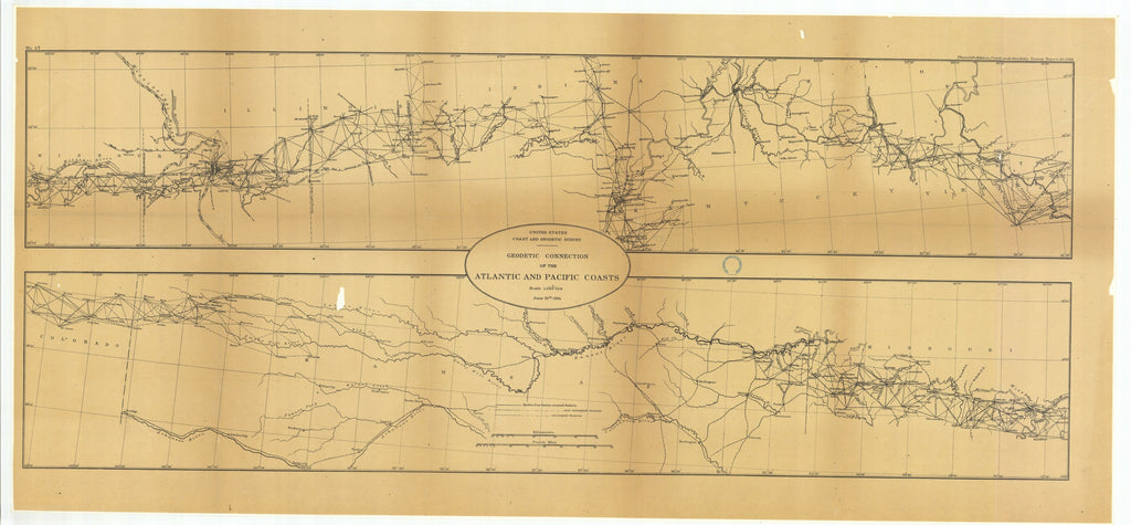 18 x 24 inch 1884 US old nautical map drawing chart of Geodetic Connection of the Atlantic and Pacific Coasts, Illinois and Missouri with Continuation Eastward and Continuation Westward From  US Coast & Geodetic Survey x2653