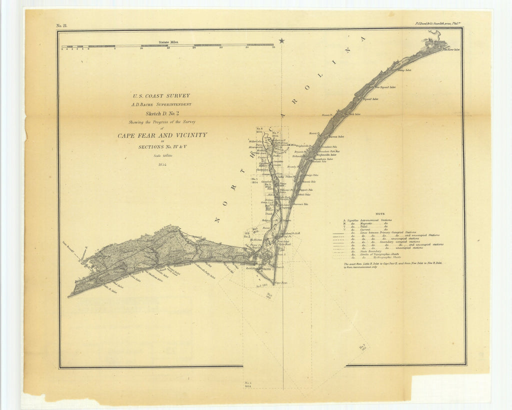 18 x 24 inch 1854 North Carolina old nautical map drawing chart of Sketch D Number 2 Showing the Progress of the Survey of Cape Fear and Vicinity in Sections Number 4 and 5 From  U.S. Coast Survey x7168