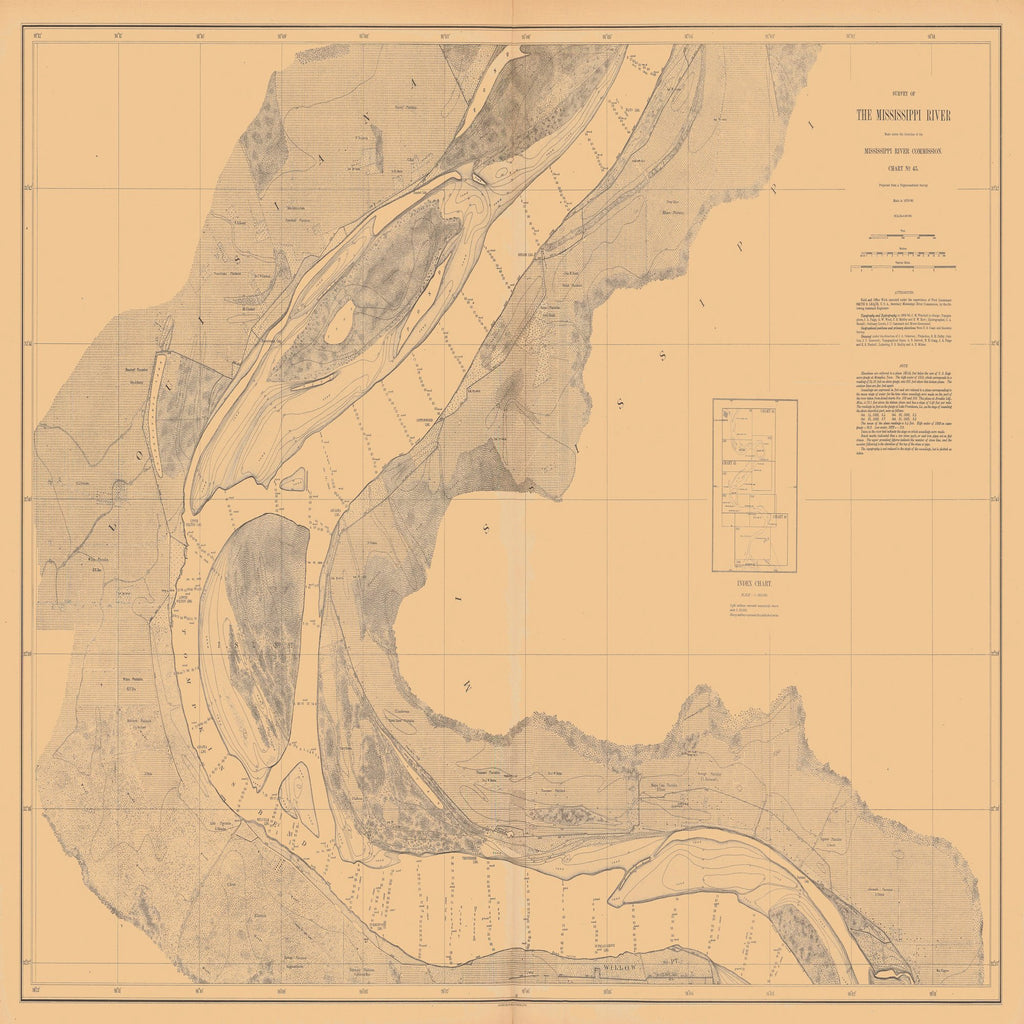 18 x 24 inch 1880 US old nautical map drawing chart of SURVEY OF THE MISSISSIPPI RIVER From  Mississippi River Commission x2391