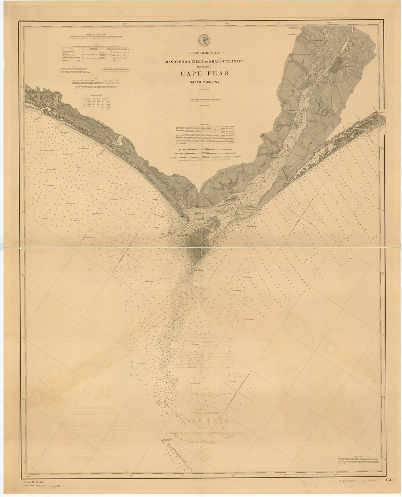 18 x 24 inch 1888 North Carolina old nautical map drawing chart of MASONBORO INLET TO SHALLOTTE INLET INCLUDING CAPE FEAR, NORTH CAROLINA From  US Coast & Geodetic Survey x7114