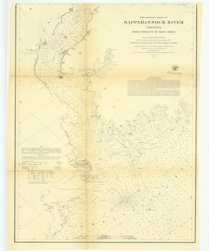 18 x 24 inch 1857 Virginia old nautical map drawing chart of Preliminary Chart of Rappahannock River, Virginia from Entrance to Deep Creek From  U.S. Coast Survey x8679