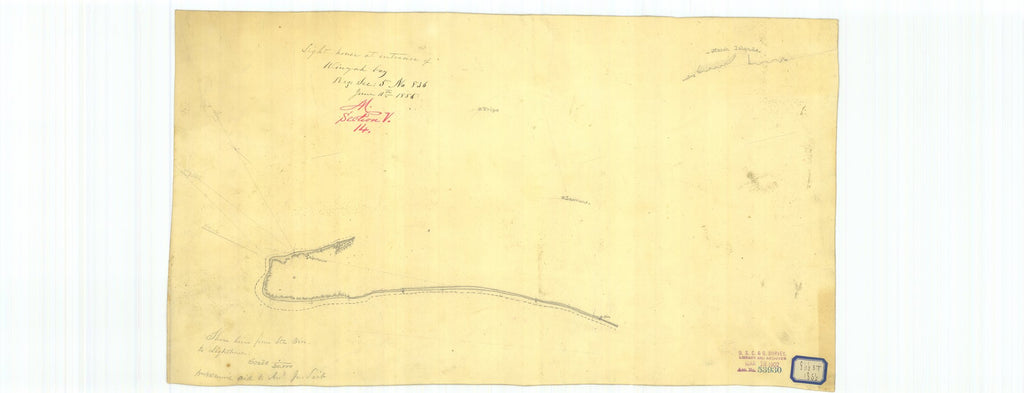 18 x 24 inch 1856 South Carolina old nautical map drawing chart of Lighthouse at Entrance of Winyah Bay and Shoreline from Sin to Lighthouse From  U.S. Coast Survey x7577