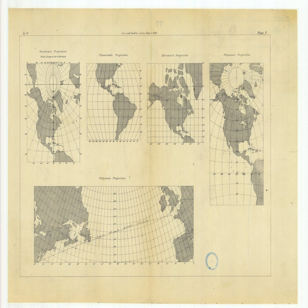 18 x 24 inch 1880 Mississippi old nautical map drawing chart of Gnomonic Projection with Flamsteed's Projection, Mercator's Projection and with Polyconic Projections From  US Coast & Geodetic Survey x6481