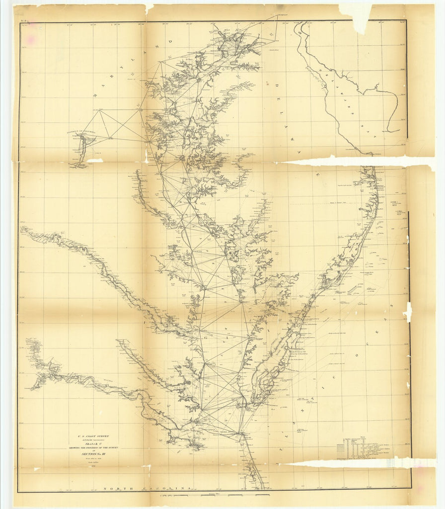 18 x 24 inch 1858 US old nautical map drawing chart of Sketch C Showing the Progress of the Survey in Section Number 3 from 1843 to 1858 From  U.S. Coast Survey x4502
