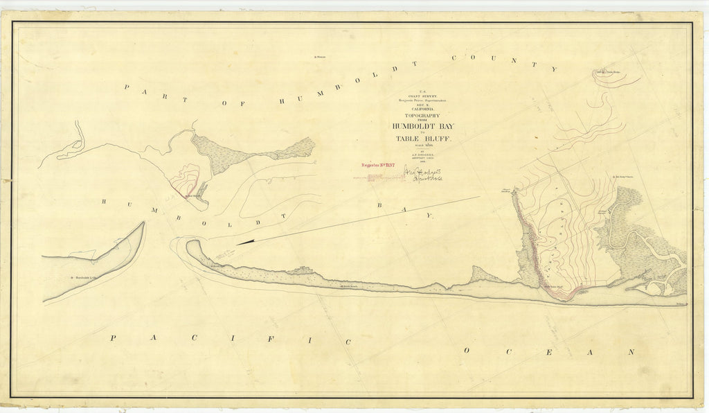 18 x 24 inch 1869 US old nautical map drawing chart of Topography From Humboldt Bay to Table Bluff From  U.S. Coast Survey x1695