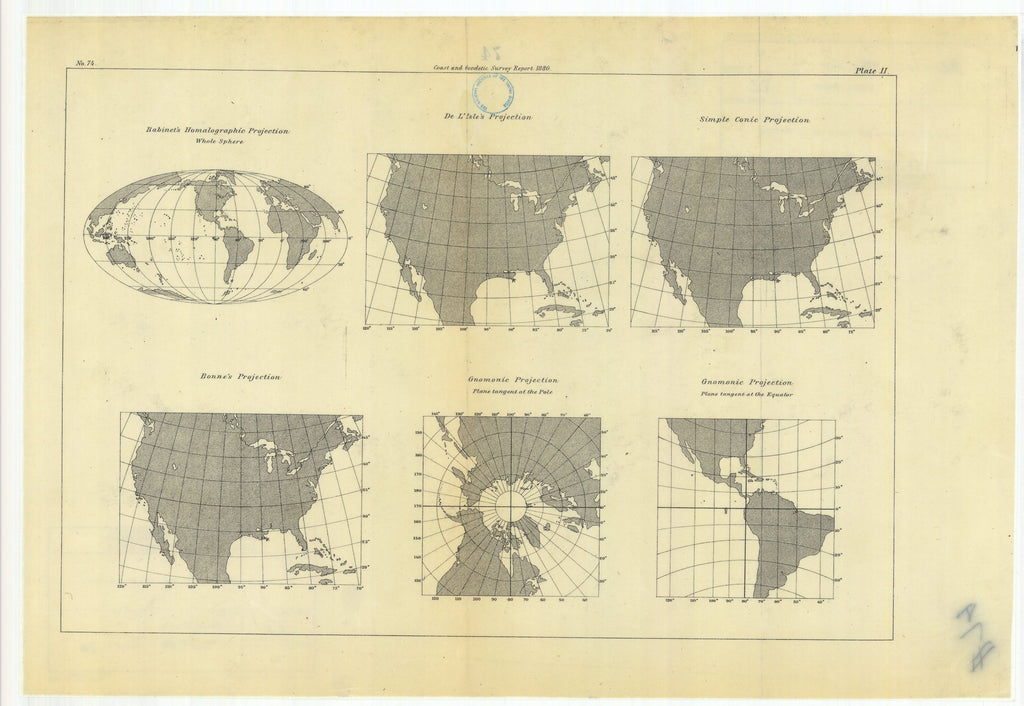 18 x 24 inch 1880 Nevada old nautical map drawing chart of Habinet's Homalographic Projection with De L'Isle's Projection, Simple Conic Projection, Gnomonic Projection, Bonne's Projection, From  US Coast & Geodetic Survey x6703