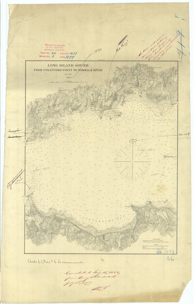 18 x 24 inch 1877 New York old nautical map drawing chart of Long Island Sound From Stratford Point to Norwalk River From  US Coast & Geodetic Survey x7064