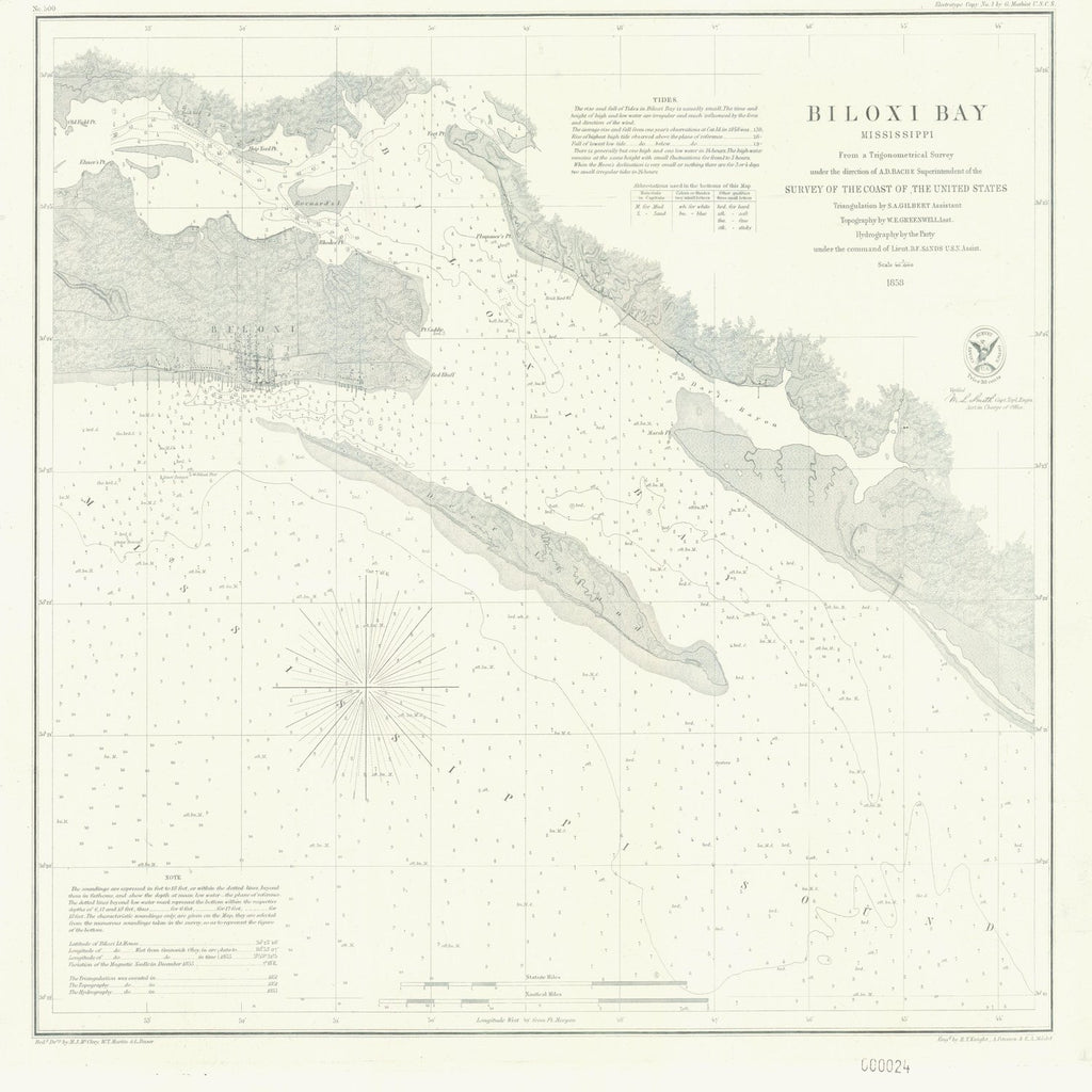 18 x 24 inch 1858 US old nautical map drawing chart of BILOXI BAY From  U.S. Coast Survey x5894