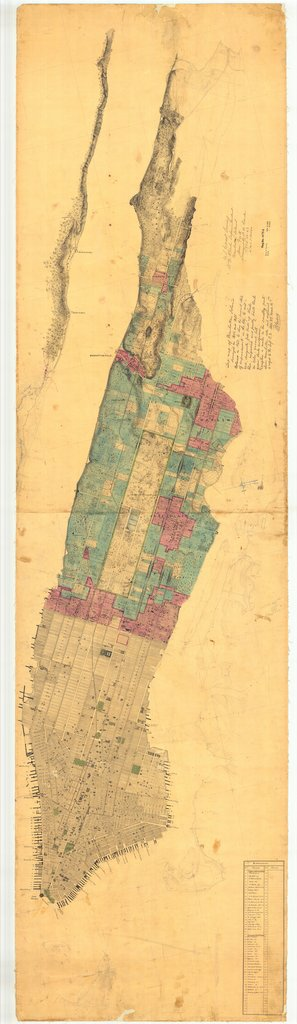 18 x 24 inch 1863 New York old nautical map drawing chart of Manhattan Island - Notes added From  U.S. Coast Survey x6836