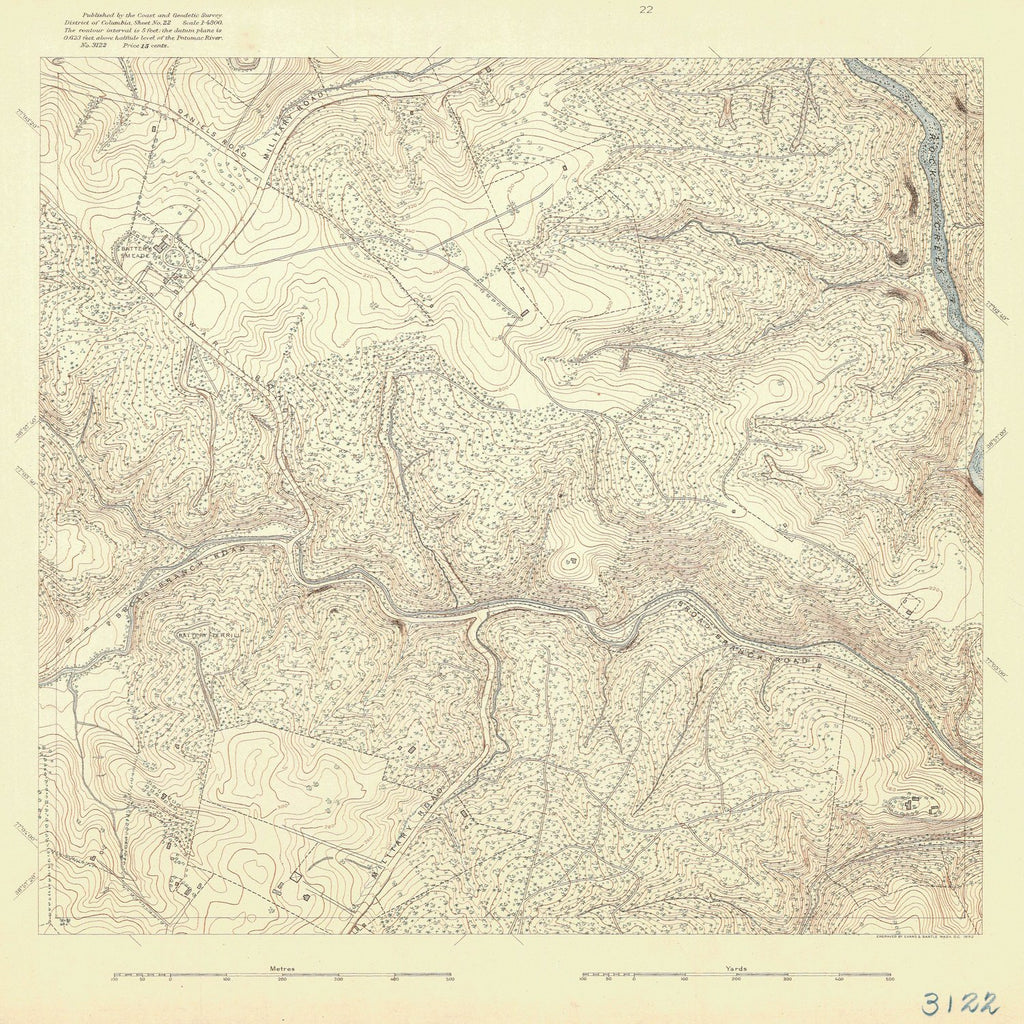 18 x 24 inch 1892 US old nautical map drawing chart of DANIELS ROAD From  US Coast & Geodetic Survey x1123