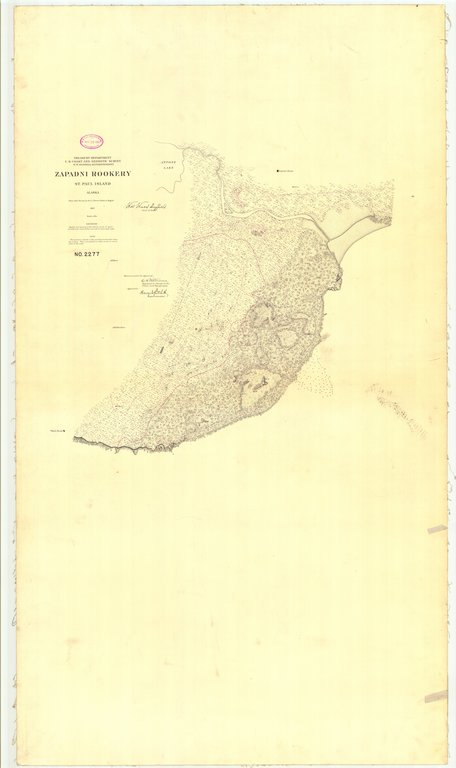 18 x 24 inch 1897 US old nautical map drawing chart of Zapadni Rookery St. Paul Island From  US Coast & Geodetic Survey x223