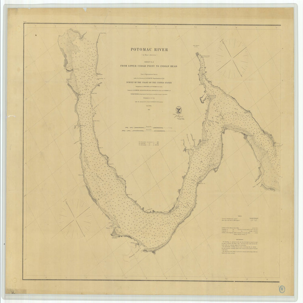 18 x 24 inch 1862 US old nautical map drawing chart of Potomac River From Lower Cedar Point to Indian Head Sheet No 3 From  U.S. Coast Survey x4035