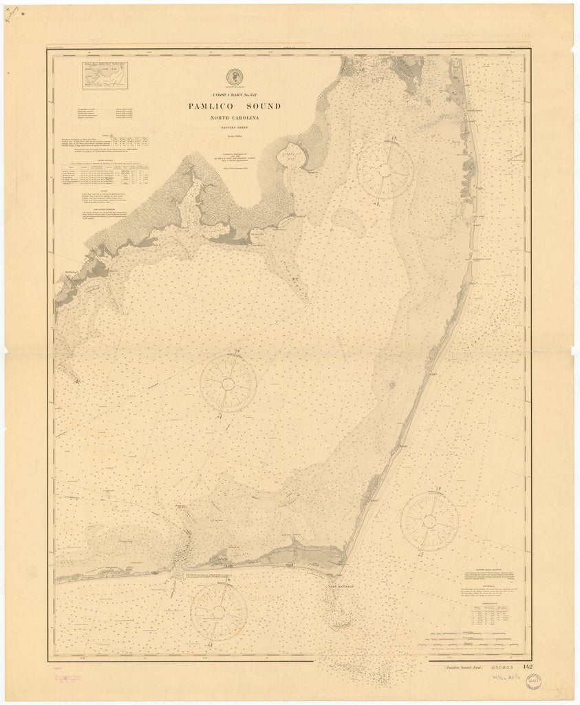 18 x 24 inch 1899 North Carolina old nautical map drawing chart of PAMLICO SOUND, NORTH CAROLINA, EASTERN SHEET From  US Coast & Geodetic Survey x7128