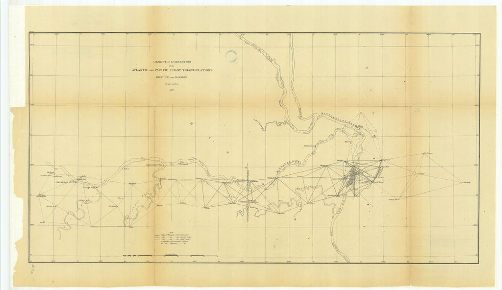 18 x 24 inch 1877 US old nautical map drawing chart of Geodetic Connection of the Atlantic and Pacific Coast Triangulations, Missouri and Illinois From  U.S. Coast Survey x1551