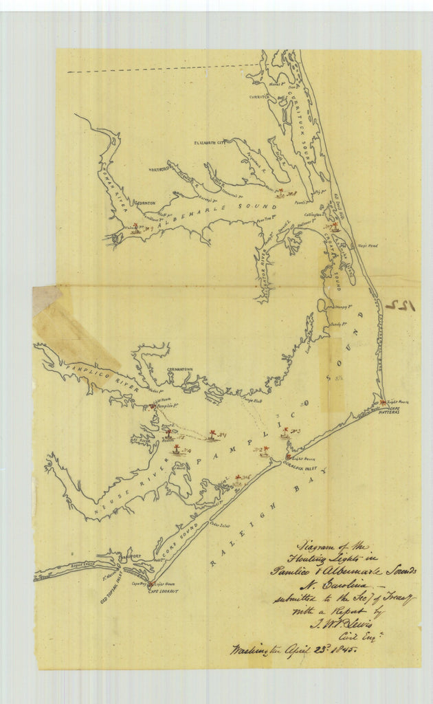 18 x 24 inch 1845 North Carolina old nautical map drawing chart of Diagram of the Floating Lights in Pamlico and Albermarle Sounds North Carolina From  J. W. V. Leuis x9437