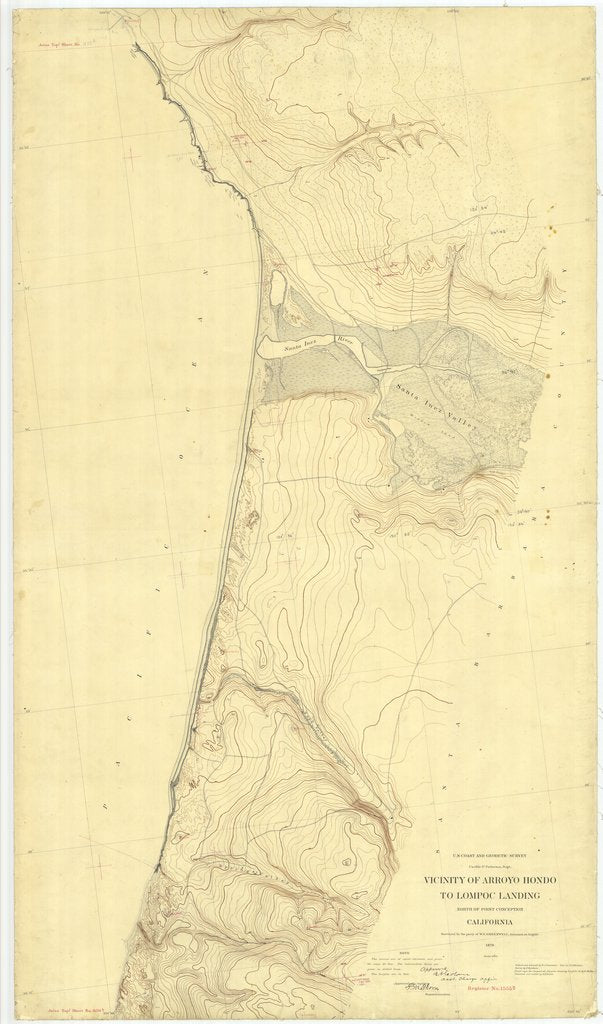 18 x 24 inch 1879 US old nautical map drawing chart of Vicinity of Arroyo Hondo to Lompoc Landing, California From  US Coast & Geodetic Survey x2422