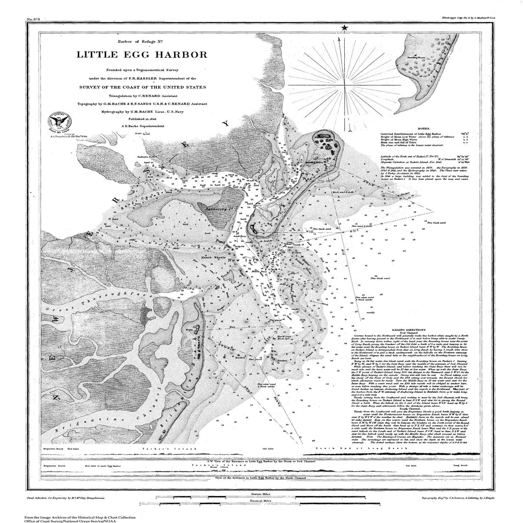18 x 24 inch 1846 US old nautical map drawing chart of Nautical Chart of Litttle Egg Harbor From  U.S. Coast Survey x6107