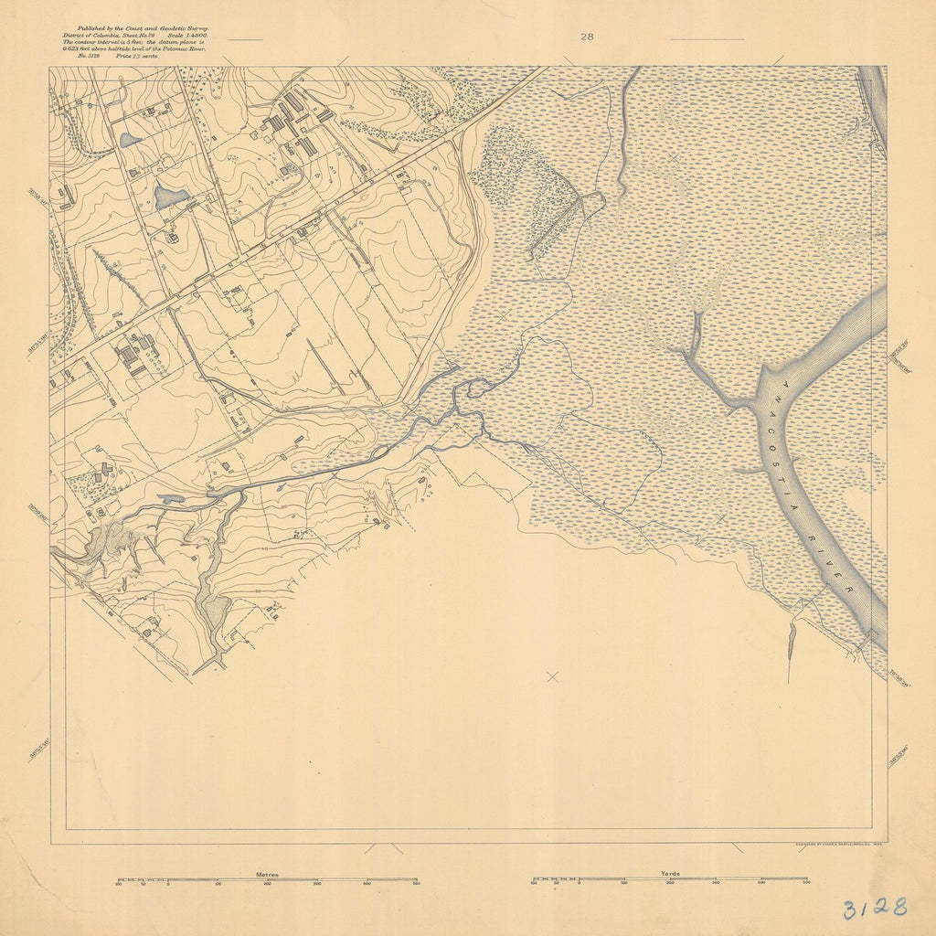18 x 24 inch 1894 US old nautical map drawing chart of DISTRICT OF COLUMBIA SHEET NO 28 From  C&GS x1584