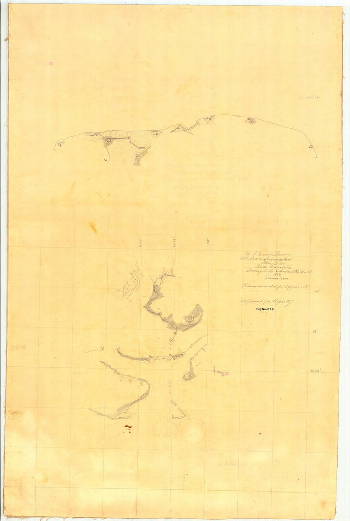 18 x 24 inch 1862 South Carolina old nautical map drawing chart of Stono Inlet, South Carolina From  U.S. Coast Survey x7580