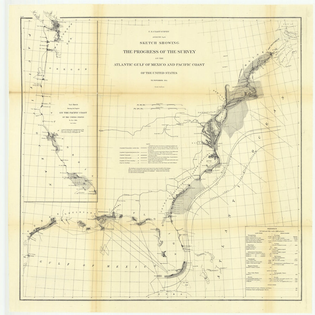 18 x 24 inch 1864 US old nautical map drawing chart of Sketch Showing the Progress of the Survey on the Atlantic Gulf of Mexico and Pacific Coast of the United States to November 1864.. From  U.S. Coast Survey x2261