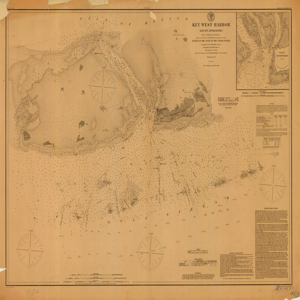 18 x 24 inch 1855 US old nautical map drawing chart of KEY WEST HARBOR From  US Coast & Geodetic Survey x1746