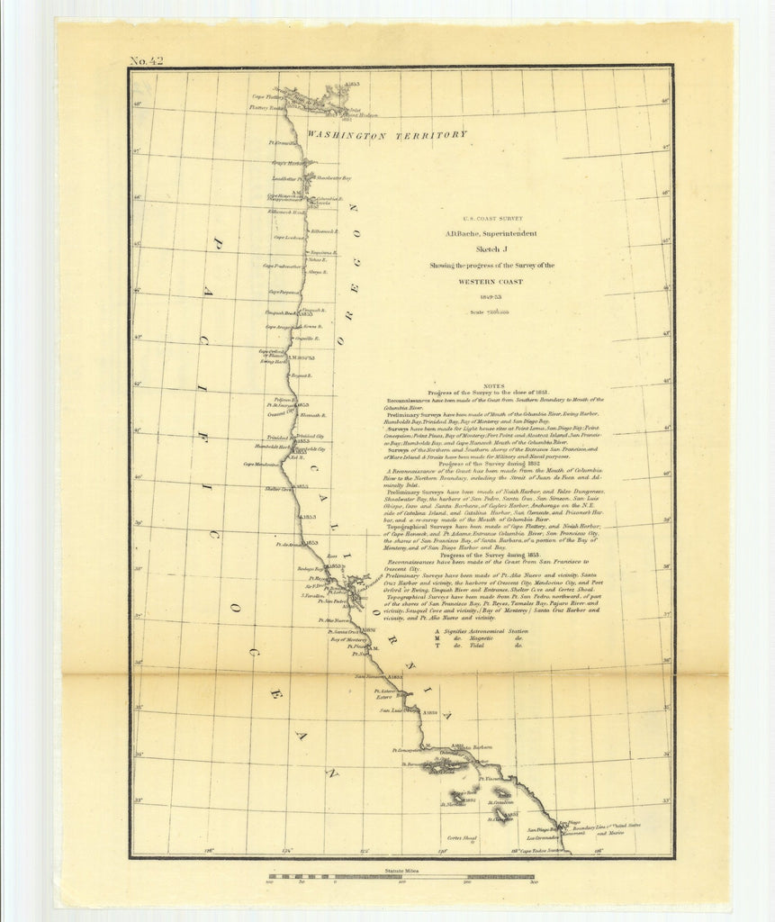 18 x 24 inch 1853 California old nautical map drawing chart of Sketch J Showing the Progress of the Survey of the Western Coast From  U.S. Coast Survey x11001