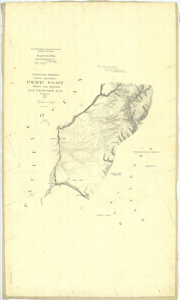 18 x 24 inch 1854 US old nautical map drawing chart of North of the Entrance San Francisco Bay From  U.S. Coast Survey x1652