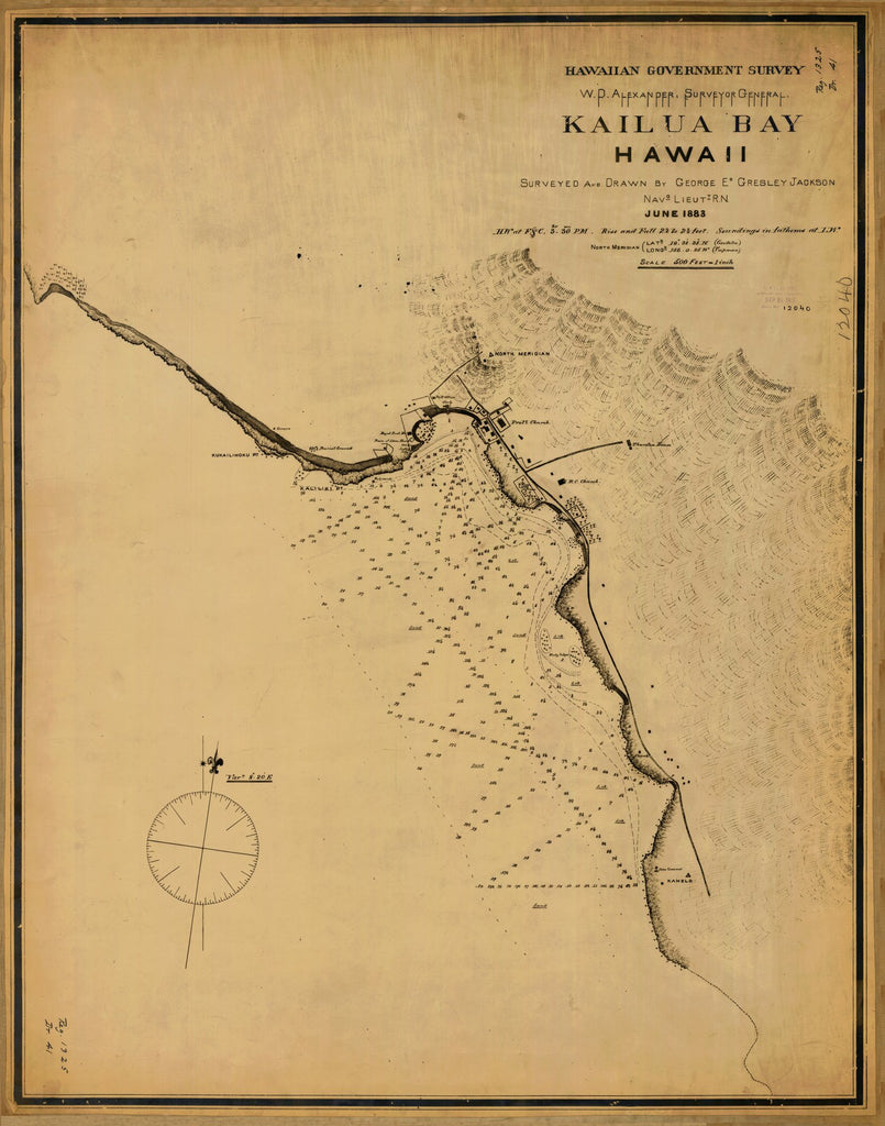 18 x 24 inch 1883 US old nautical map drawing chart of KAILUA BAY From  Hawaiian Government Survey x1199