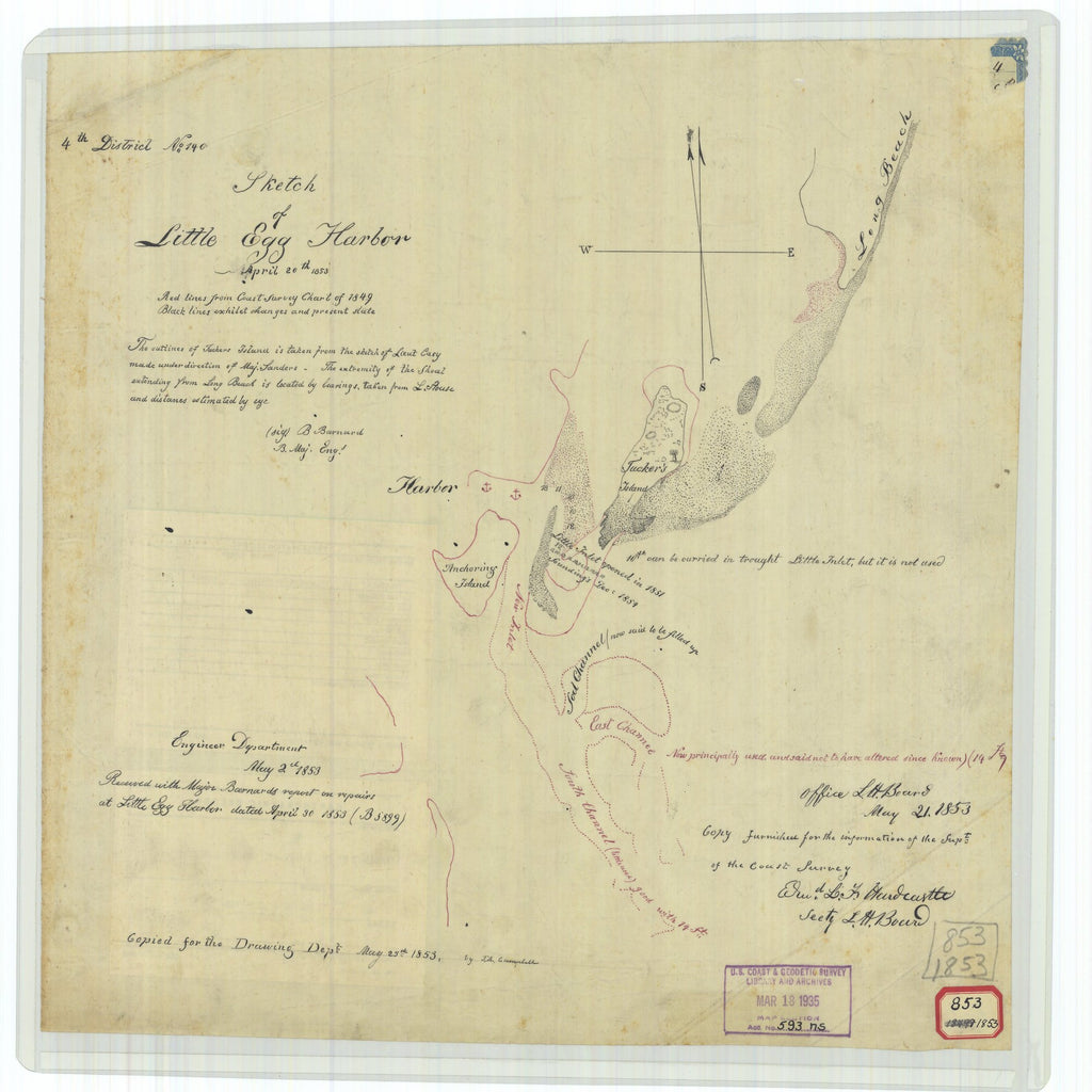 18 x 24 inch 1853 New Jersey old nautical map drawing chart of Sketch of Little Egg Harbor From  U.S. Coast Survey x7528