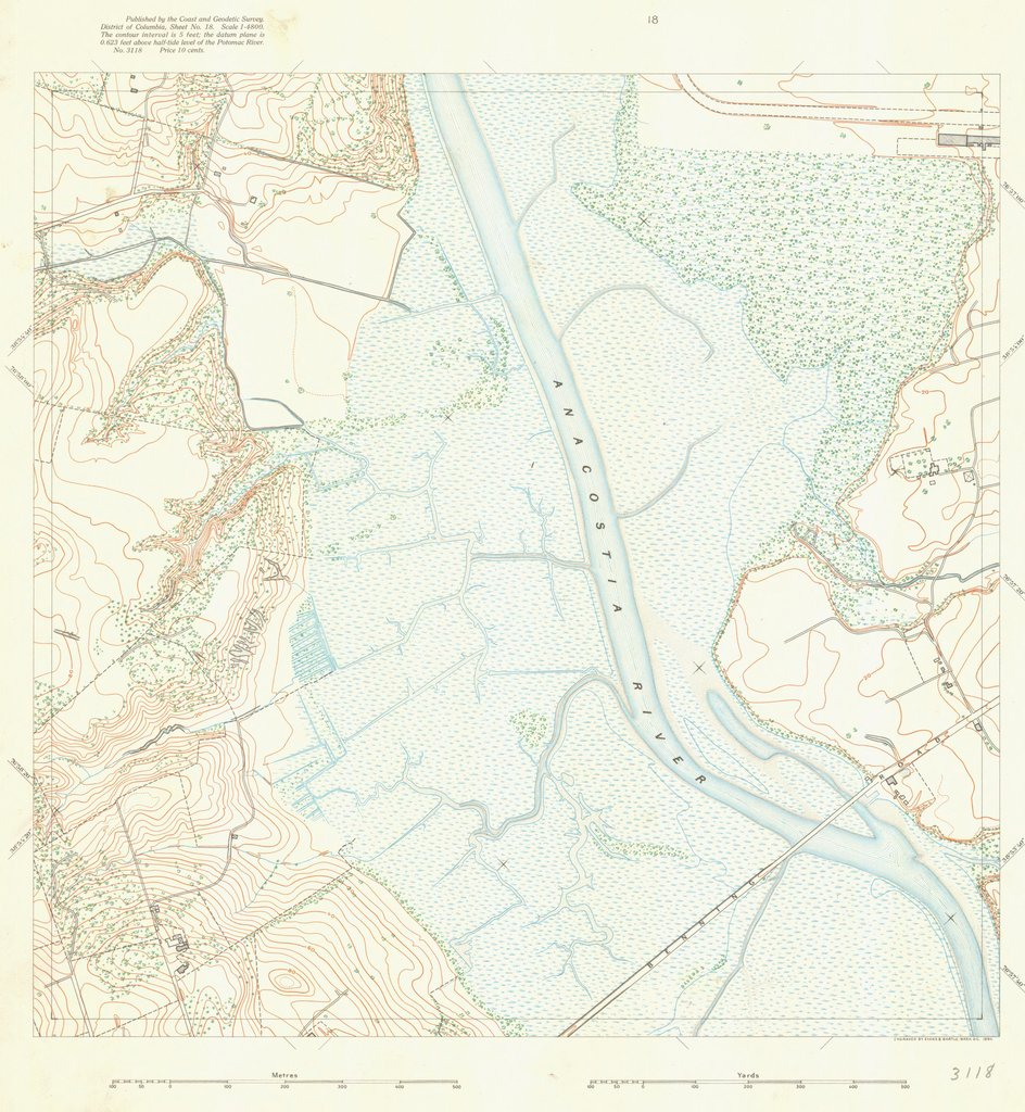 18 x 24 inch 1894 US old nautical map drawing chart of SURVEY OF POTOMAC REGION From  US Coast & Geodetic Survey x705