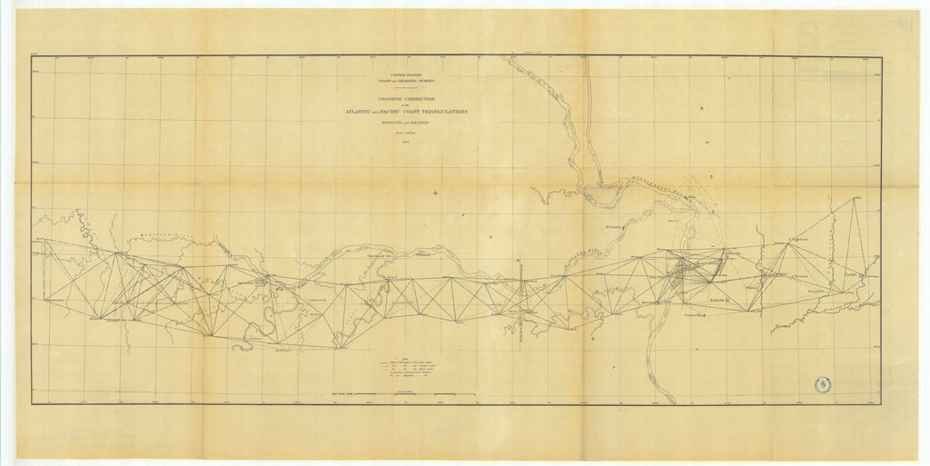 18 x 24 inch 1879 US old nautical map drawing chart of Geodetic Connection of the Atlantic and Pacific Coast Triangulations, Missouri and Illinois From  US Coast & Geodetic Survey x1553