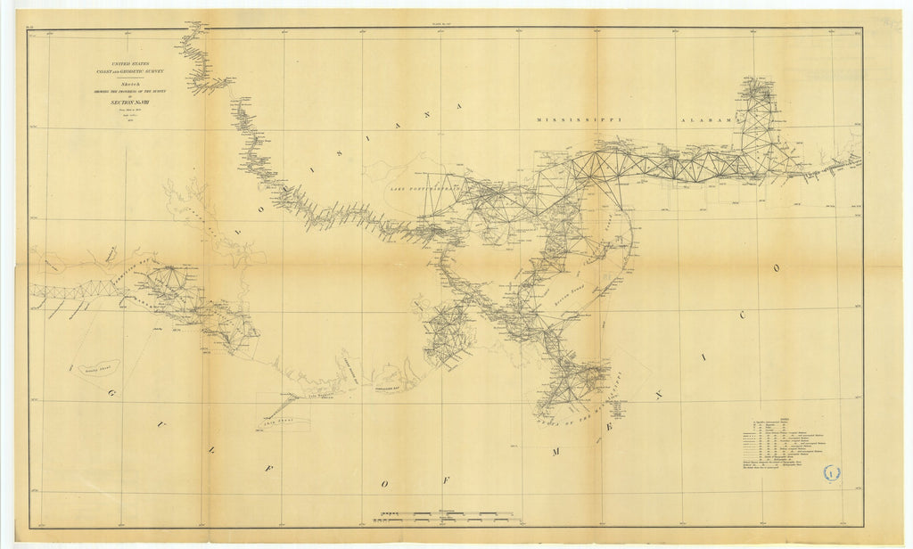 18 x 24 inch 1879 US old nautical map drawing chart of Sketch Showing the Progress of the Survey in Section Number 8 from 1846 to 1879 From  US Coast & Geodetic Survey x1140