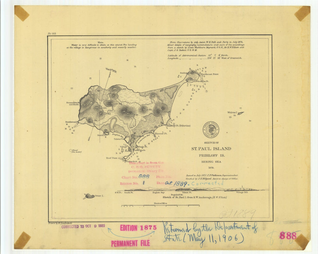 18 x 24 inch 1889 US old nautical map drawing chart of Sketch of St. Paul Island Pribiloff Island From  US Coast & Geodetic Survey x2183