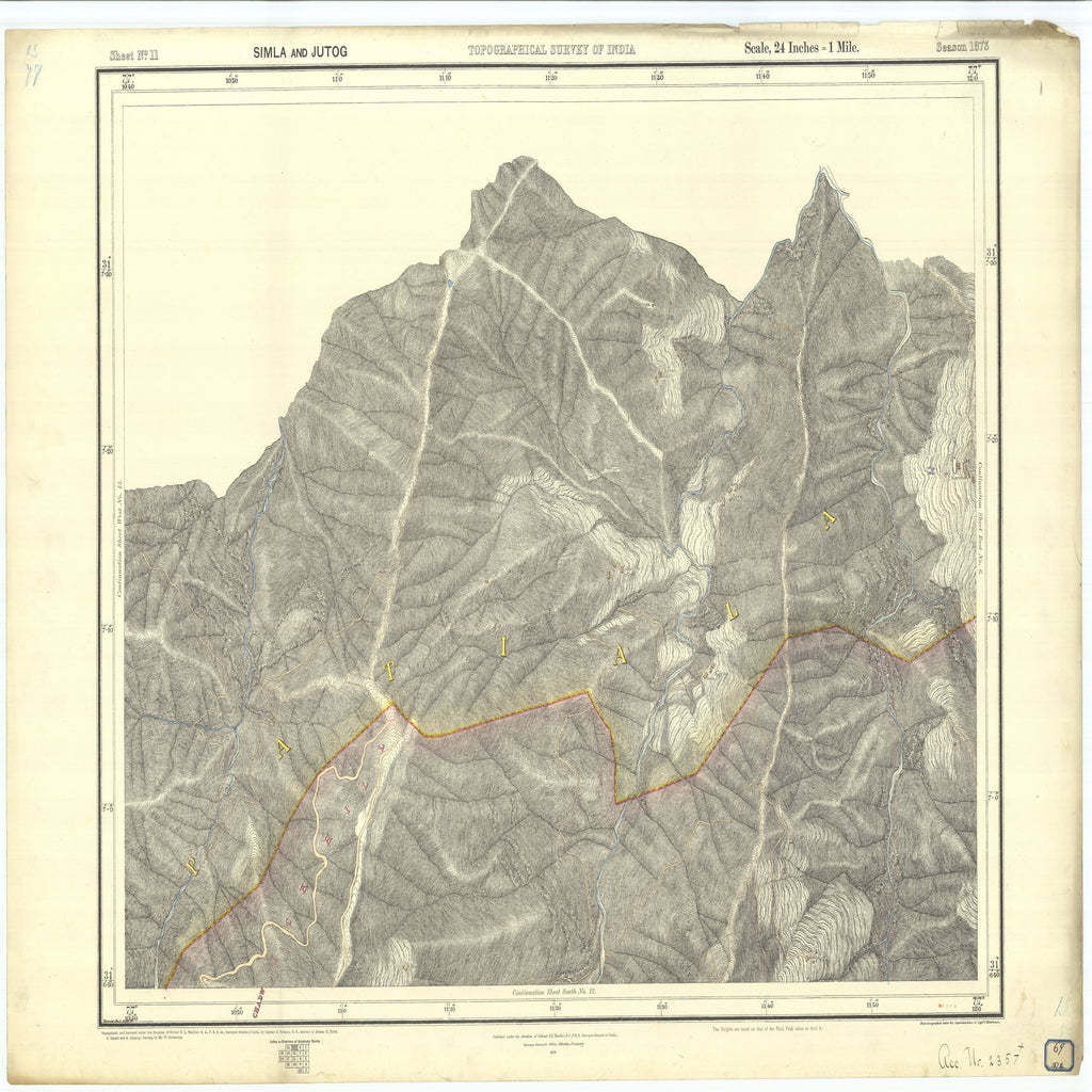 18 x 24 inch 1874 OTHER old nautical map drawing chart of Topographical Survey of India Simla and Jutog From  Surveyor General's Office x7268