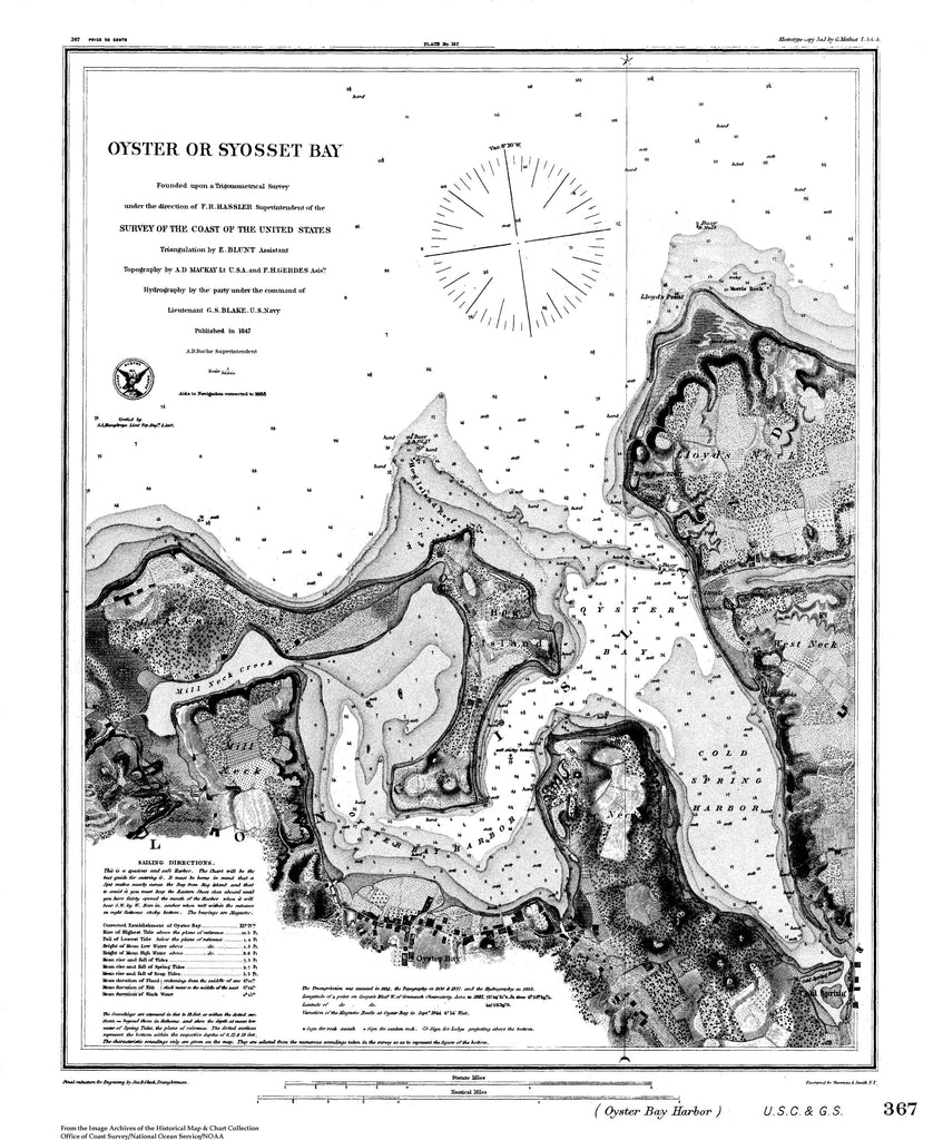 18 x 24 inch 1847 New York old nautical map drawing chart of Nautical Chart of Oyster or Syosset Bay From  U.S. Coast Survey x6930
