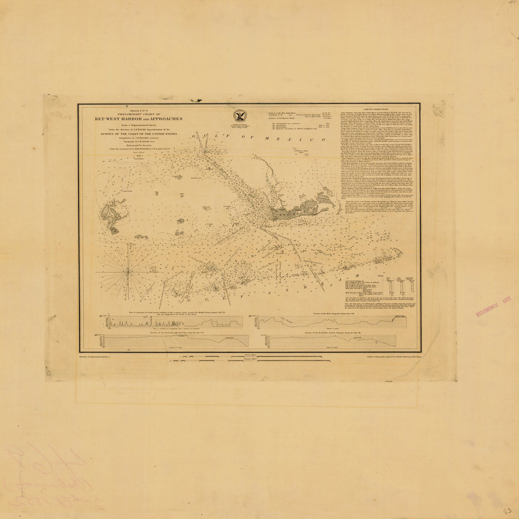 18 x 24 inch 1852 US old nautical map drawing chart of KEY WEST HARBOR AND APPROACHES PRELIMINARY CHART From  U.S. Coast Survey x2514