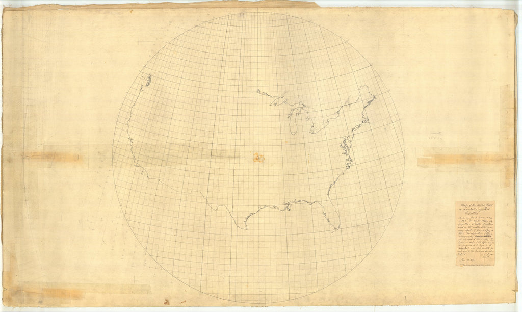18 x 24 inch 1894 USA old nautical map drawing chart of Map of the United States on Lambert Azimuthal Projection From  NOAA x12159