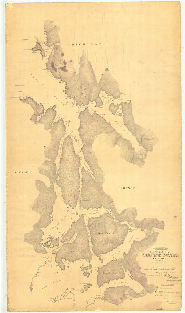 18 x 24 inch 1897 US old nautical map drawing chart of Topography Inland Passage From Sergius Narrows to Old Sitka Rocks From  US Coast & Geodetic Survey x904