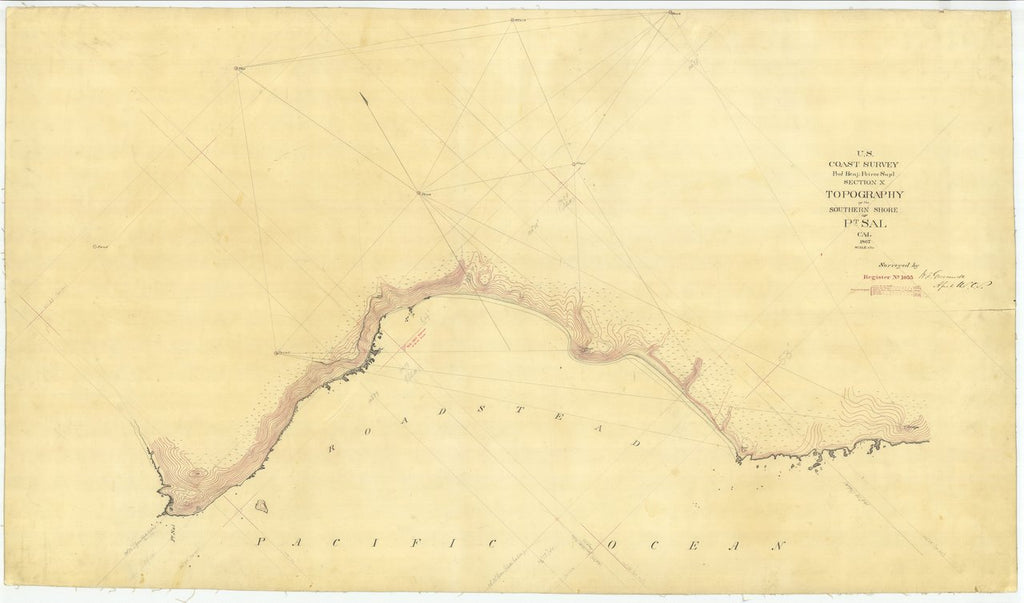 18 x 24 inch 1867 US old nautical map drawing chart of Topography of the Southern Shore of Pt. Sal, California From  U.S. Coast Survey x201