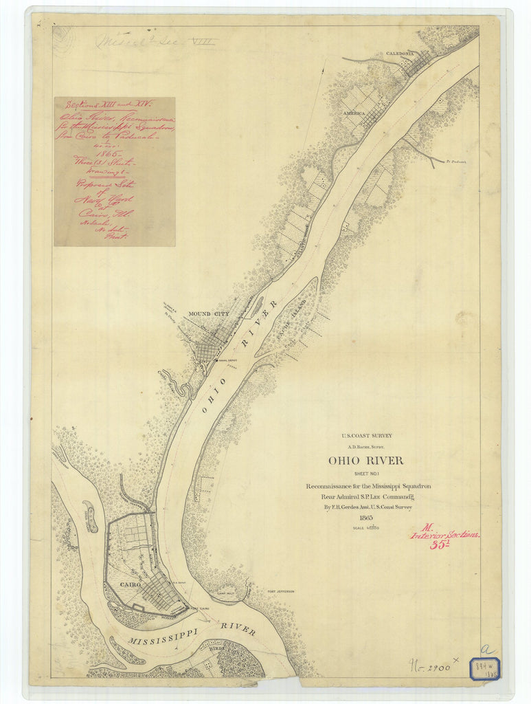 18 x 24 inch 1865 Ohio old nautical map drawing chart of Ohio River From  U.S. Coast Survey x6717